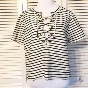 Madewell Tops - Madewell | Navy and White Striped Lace Up Blouse